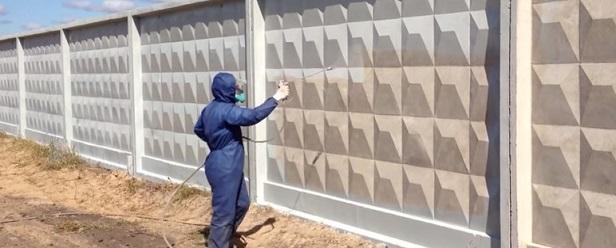Покраска бетонного забора -1